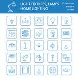 Lámpara, línea plana iconos de las lámparas Equipo de iluminación casero y al aire libre - lámpara, aplique de la pared, lámpara  Fotos de archivo libres de regalías