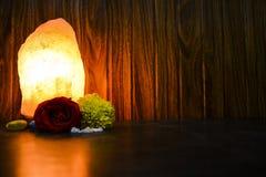 Lámpara natural de la sal que brilla intensamente | Sal Himalayan foto de archivo libre de regalías