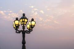 Lámpara pública del campo en la orilla del Mekong Foto de archivo libre de regalías