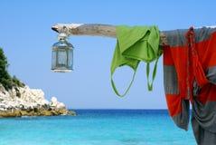 Lámpara romántica en la playa foto de archivo libre de regalías