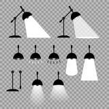 Lámpara, vector Elementos prefabricados, posiciones ajustables para su diseño Diversas variantes de la iluminación de linternas stock de ilustración