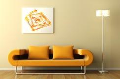 Lámpara y cuadro anaranjados del sofá Imágenes de archivo libres de regalías