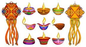 Lámpara y diya del kandil de la ejecución para la decoración de Diwali ilustración del vector