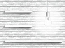 Lámpara y estantes en el fondo de la pared de ladrillo imagen de archivo
