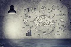 Lámpara y muro de cemento con bosquejos del cerebro Imágenes de archivo libres de regalías