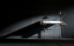 Lámpara y papel de elaboración de escritorio Foto de archivo