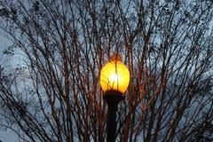 Lámpara y una tarde oscura fría en Dalton, GA Imágenes de archivo libres de regalías