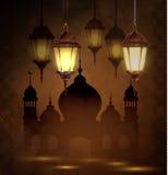 Lámparas árabes complejas con las luces Fotografía de archivo libre de regalías