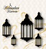 Lámparas árabes, Fanoos para Ramadan Kareem, tarjeta islámica Fotografía de archivo libre de regalías