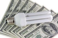 Lámparas ahorros de energía en los dólares Imagen de archivo libre de regalías