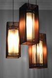 Lámparas con las cortinas de Brown Foto de archivo libre de regalías