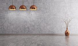 Lámparas de cobre sobre la representación interior del fondo 3d del muro de cemento ilustración del vector