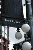 Lámparas de la bandera y de calle de Gastown, Vancouver, Canadá imagenes de archivo