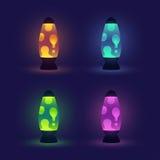 Lámparas de la lava que brillan intensamente fijadas ilustración del vector