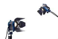 Lámparas de la película aisladas en blanco imagenes de archivo