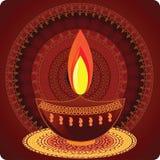 Lámparas de petróleo de Diwali con diseño de la mandala