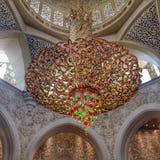 Lámparas de Sheikh Zayed Grand Mosque foto de archivo libre de regalías