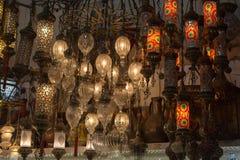 Lámparas del otomano del mosaico del bazar magnífico Imagen de archivo libre de regalías