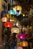 Lámparas del otomano del mosaico del bazar magnífico Fotos de archivo