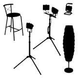 Lámparas eléctricas y silla Foto de archivo libre de regalías