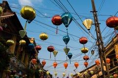 Lámparas famosas del papel coloreado , Hoian - Vietnam Fotografía de archivo