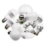 Lámparas GU10 y E27 del LED con diversos zócalos aislados imagenes de archivo