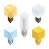 Lámparas isométricas planas del bulbo fijadas Vector libre illustration