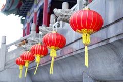 Lámparas o linternas rojas chinas para la celebración del Año Nuevo Foto de archivo