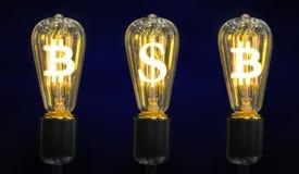 Lámparas que brillan intensamente los símbolos de las monedas del mundo fotografía de archivo libre de regalías