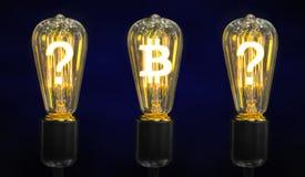 Lámparas que brillan intensamente los símbolos de las monedas del mundo foto de archivo