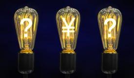 Lámparas que brillan intensamente los símbolos de las monedas del mundo Fotos de archivo