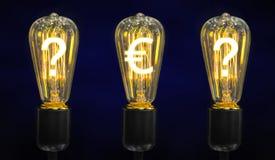Lámparas que brillan intensamente los símbolos de las monedas del mundo imágenes de archivo libres de regalías