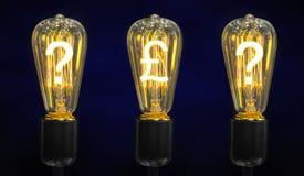 Lámparas que brillan intensamente los símbolos de las monedas del mundo fotos de archivo libres de regalías