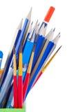 Lápices, cepillo y pluma Imágenes de archivo libres de regalías