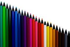 Lápices coloreados aislados fotografía de archivo