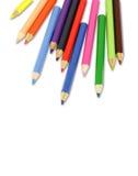 Lápices coloreados aislados en blanco Imágenes de archivo libres de regalías
