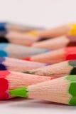 Lápices coloreados alineados Imagen de archivo libre de regalías