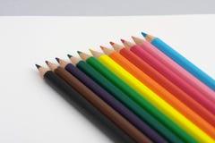Lápices coloreados alineados Imagen de archivo