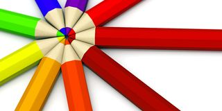 Lápices coloreados apilados cerca de uno a Fotos de archivo libres de regalías