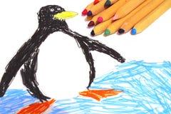 Lápices coloreados con el dibujo de los niños Foto de archivo