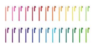 Lápices coloreados cosmético del vector fijados Lápices del ojo en diversos colores Los anuncios cosméticos superiores del diseño Fotografía de archivo