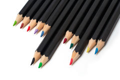 Lápices coloreados de la escuela empilados Imágenes de archivo libres de regalías