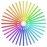 Lápices coloreados dispuestos en un círculo. Foto de archivo libre de regalías