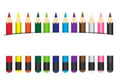 Lápices coloreados ejemplo del vector Foto de archivo libre de regalías