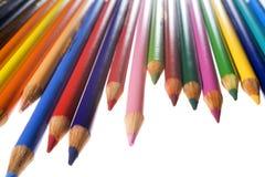 Lápices coloreados en blanco Foto de archivo libre de regalías