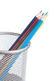 Lápices coloreados en cesta Imagen de archivo