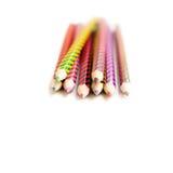 lápices coloreados en el fondo blanco Foto de archivo libre de regalías