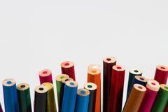 lápices coloreados en el fondo blanco Foto de archivo