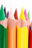 lápices coloreados en el fondo blanco Imágenes de archivo libres de regalías