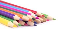 lápices coloreados en el fondo blanco Fotos de archivo libres de regalías